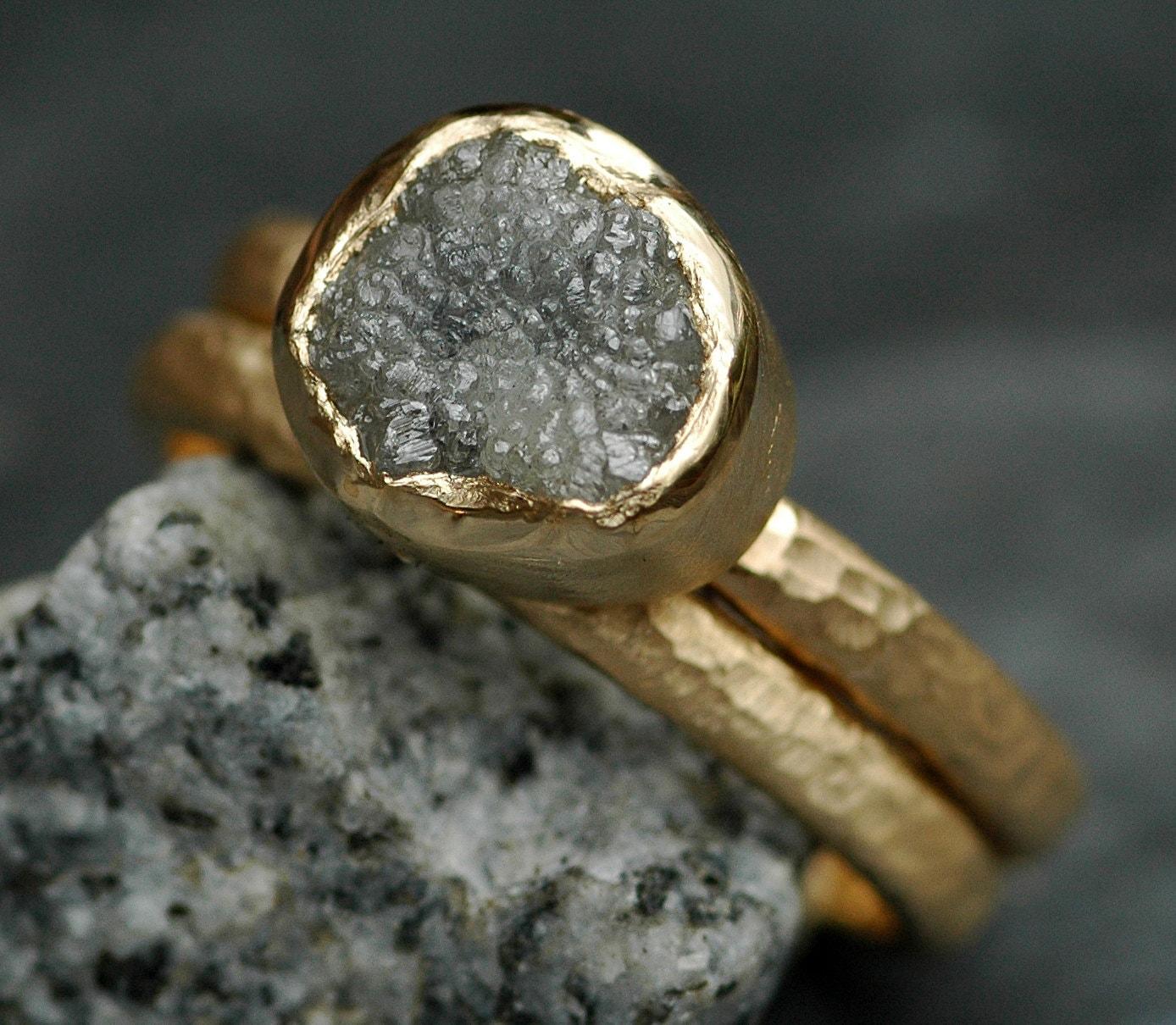 BezelSet Rough Raw Uncut Large Diamond Engagement Ring and Wedding