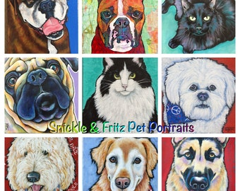 Custom Pet Portraits on Canvas Original Canvas Art Painted from your photographs Dog Art Pet Art