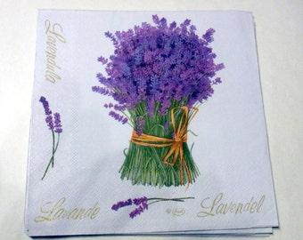 Decoupage Napkins,  vintage paper napkins, lavender