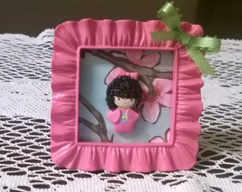 Kokeshi Doll in a Frame Polymer Clay Ooak Figurine Decoration Gift Home Decor Kawaii Pink Girl
