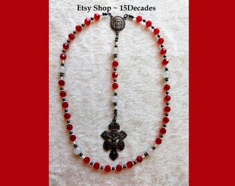 Holy Face of Jesus Chaplet - White Jade & Red Siam beads with Gunmetal Details