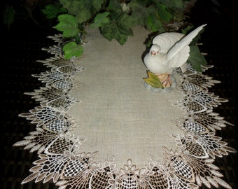 "34""  Table Runner Dresser Scarf Neutral Earth Tones European Lace"
