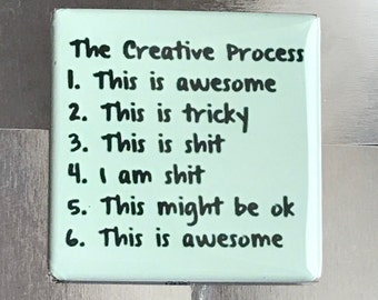 The creative process.... Custom made 1.5 X 1.5 magnet