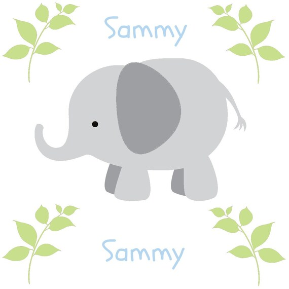 Elephants in a Row Gray Personalized - Organic Cotton Blanket -Baby / Toddler Blanket, Elephant Blanket, Personalized Nursery Swaddle