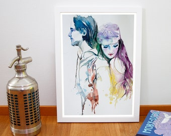 Watercolor Print - She loves you. Digital print of couple in love. Valentine