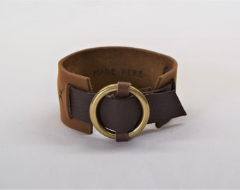 Leather cuff, Mixed browns