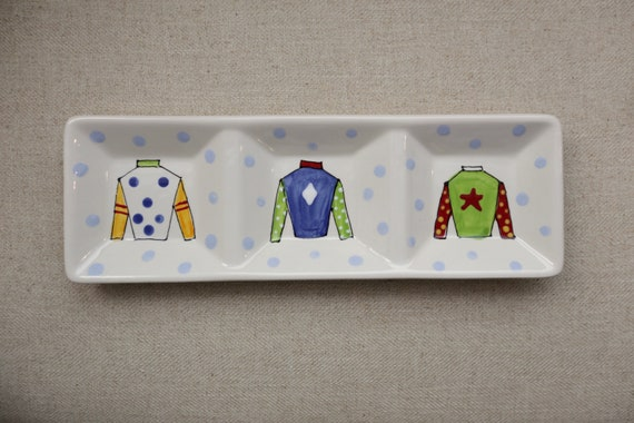 KENTUCKY DERBY platter, jockey silk plate, three section derby dish, Kentucky Derby party, Derby platter, Horse racing platter, silks plate