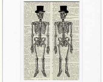 Skeletons with top hats print