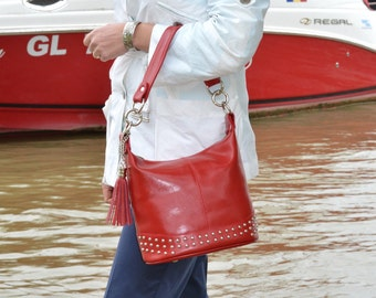 RED LEATHER Hobo Bag, Red Leather Handbag, Red Leather Shoulder Bag, Medim Size Red Leather Bag, Red Leather Purse