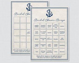 Nautical Bridal Shower Bingo Printable - 60 Unique Pre-filled Bingo Cards AND Blank Cards - Navy Nautical Anchor Bridal Shower Bingo 0011