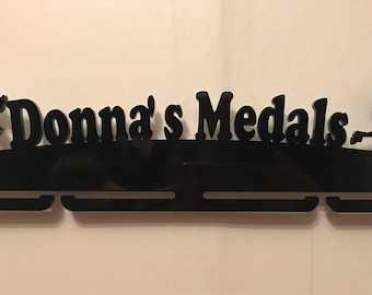 Personalised female runner medal holder