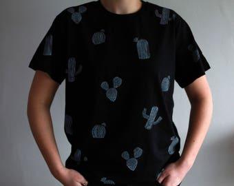 Hand printed organic cotton t-shirt - CACTI