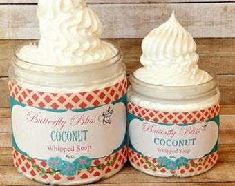 Coconut Whipped Soap | 4 oz Fluffy Soap | Soap Cream | Bath Whip | 8oz fluffy soap | vegan soap | organic soap | natural soap | soap gift
