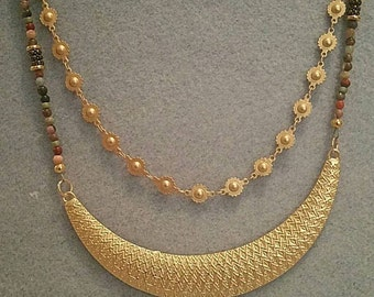 0217-Hamilton Gold and Beaded Necklace with added chain