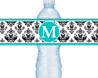 Monogram Water Bottle Labels - CUSTOM Printable Damask Water Bottle Labels, YOU print, you cut, DIY water bottle labels