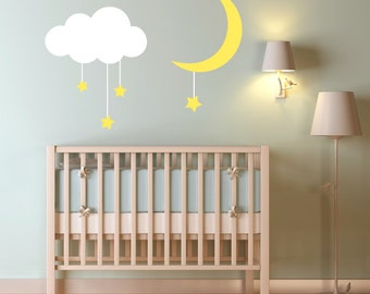 Adorable Cloud, Moon and Dropping Stars Vinyl Wall Decal Set