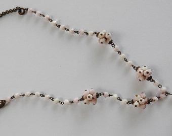 Antique Art Deco Pink Glass Necklace