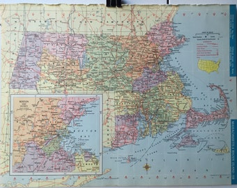World atlas 1965 etsy vintage 1965 hammonds world atlas map page michigan on one side and massachusetts rhode gumiabroncs Gallery