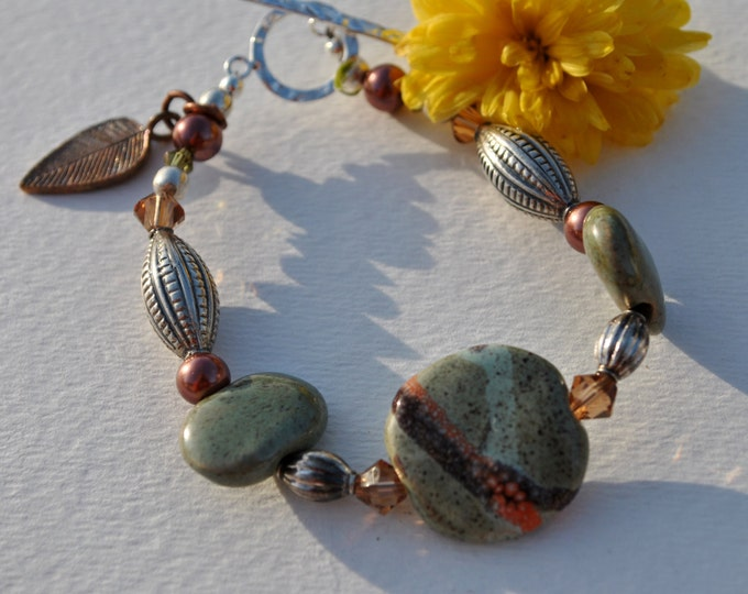 Chunky  Sage, brown, and copper African Kazuri Ceramic bracelet set with Swarovski crystals and Bali sterling silver beads