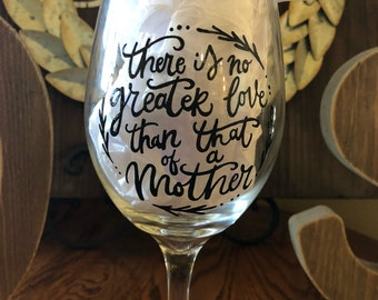 Hand Painted Mothers Day Wine Glass