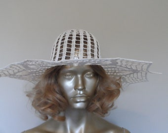 Vintage 1940's Hand Crocheted Wide Brim Hat* Starched . Rare . Stunning . One of a Kind . Retro . Formal Hats .