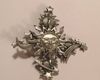 Vintage JJ celestial brooch