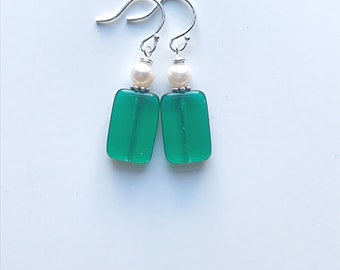 Emerald Glass and Freshwater Pearl Earrings on Sterling Silver