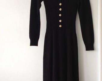 Vintage St John for Lillie Rubin Black Knit Dress