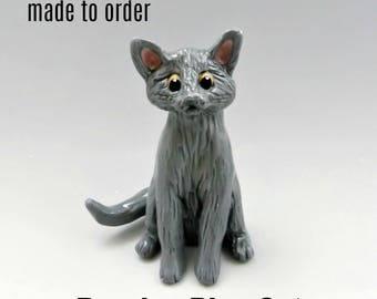 Russian Blue Cat PORCELAIN Christmas Ornament Figurine Made to Order