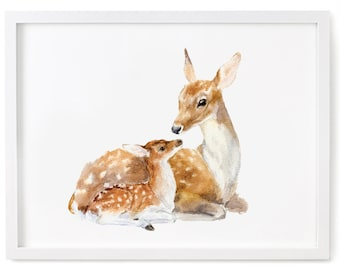 Deer Watercolor Print, Fawn Print, Deer and Fawn Art, Deer Wall Decor