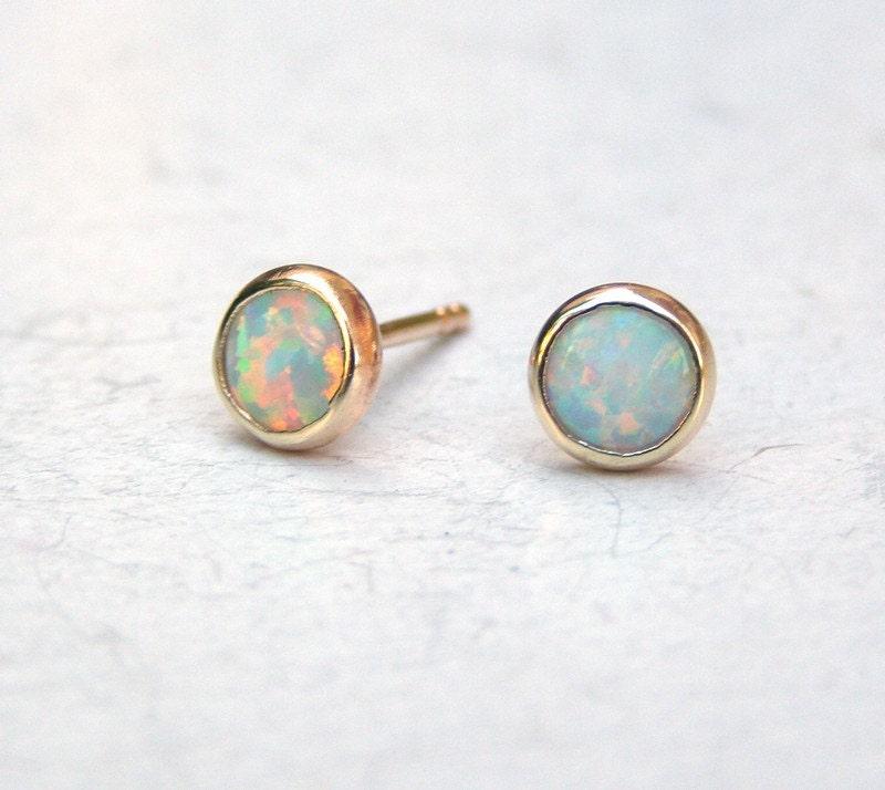 Solid 14k Gold Earrings White Opal Earrings Wife gift white