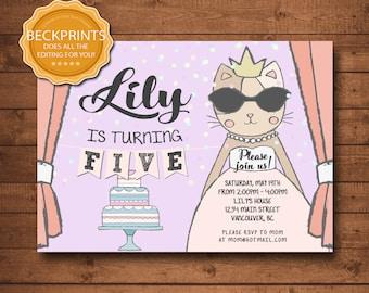 Princess Kitty Birthday Invitation, Kitty Invitation, Kitty Invite, Digital Kitty Invitation, Digital Birthday Invitations, Printable Invite