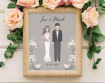Custom wedding portrait illustration - Alternative wedding guest book modern - Personalized wedding gift for couples - Couple portrait