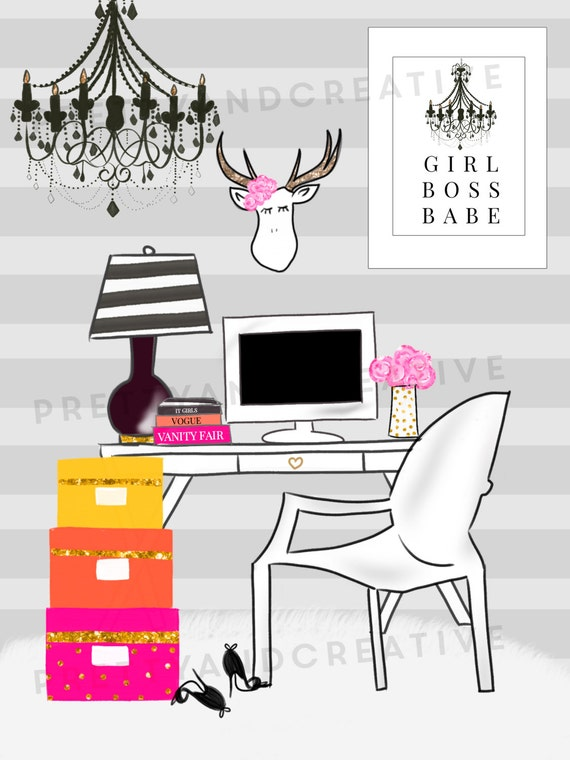 Boss Office Girl Scenery Clipart Set, Girl Office, Office Elements ...