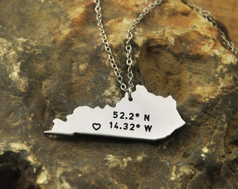 Kentucky  necklace Latitude Longitude Necklace Coordinate  925 sterling silver  necklace state necklace map necklace state charm