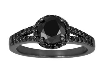 Black Diamond Engagement Ring, Black Gold Engagement Ring, Vintage Engagement Ring, 1.48 Carat Split Shank Halo Certified handmade
