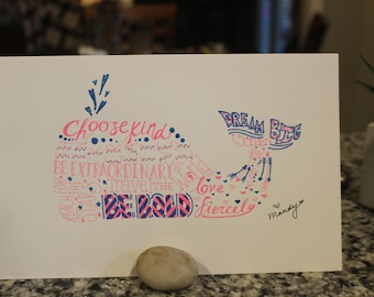 hand drawn pink and blue word art whale picture, unframed