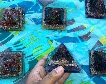 Black Tourmaline Orgone Pyramid 7 chakra Stones meditation EMF protection Healing Crystals Balancing Chakras crystal grids