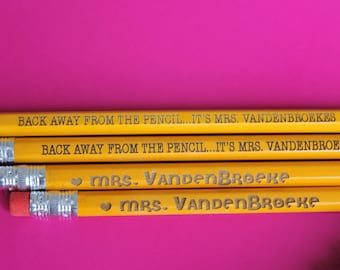 Set of 6 Teacher Pencils - Personalized Pencils, Custom Pencils, Engraved Pencils, Personalized Pencils for Kids, Cute girly pencils