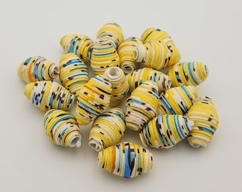Yellow Blue | Paper beads | Paper Bead Jewelry | Recycled Upcycled | Loose Paper Beads | Jewelry Supplies | Beading Supplies | Bicone