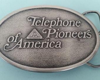 Vintage Telephone Pioneers of America Bottle Opener Belt Buckle Free Shipping