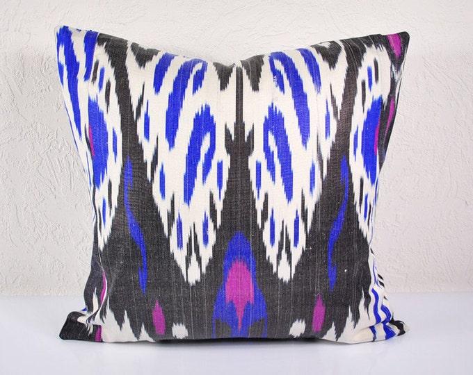 Ikat Pillow, Hand Woven Ikat Pillow Cover  A515-1aa3, Ikat throw pillows, Designer pillows, Decorative pillows, Accent pillows