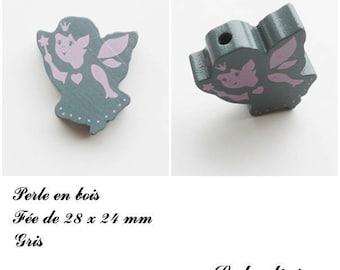 28 x 24 mm wooden bead, Pearl flat fairy: gray