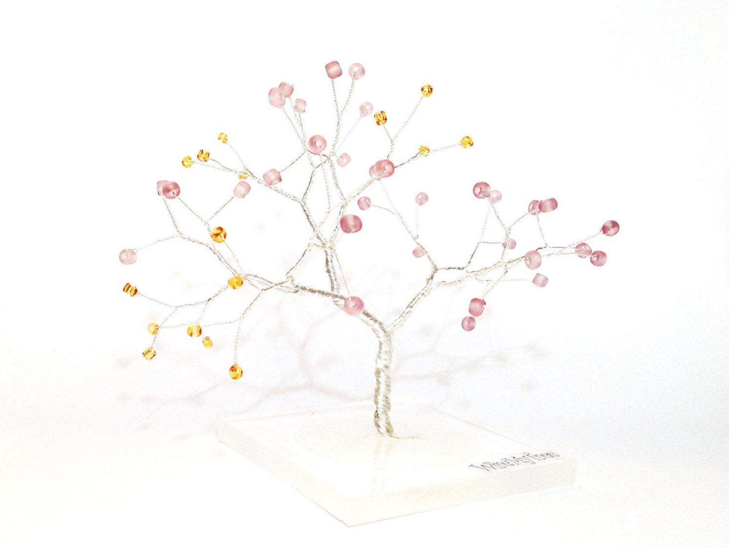 Silber Miniatur Draht Baum des Lebens orange lila Draht