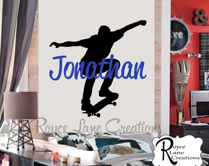 Skateboard Wall Decal with Personalized Name