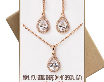 Mother of the bride/ groom Jewelry Set Necklace and earrings gift set wedding jewelry gift set bridal party wedding jewelry N519-RGD