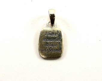 Vintage Grandma Because of You I Have Memories To Last a Lifetime Pendant 925 Sterling PD 85-E