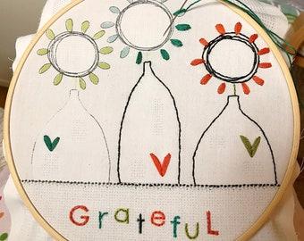"Embroidery stitch kit ""Grateful"""
