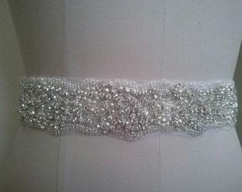 SALE -Wedding Belt, Bridal Belt, Sash Belt, Crystal Rhinestones & Pearls - Style B29991C