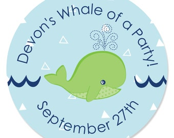 24 Tale Of A Whale Circle Stickers - Personalized Baby Shower or Birthday Party DIY Craft Supplies